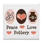 Peace Love Pottery Tile Coaster