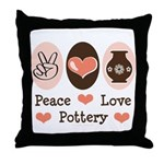 Peace Love Pottery Throw Pillow