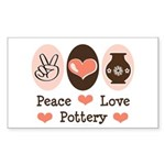 Peace Love Pottery Rectangle Sticker