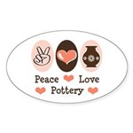 Peace Love Pottery Oval Sticker (10 pk)