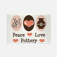 Peace Love Pottery Rectangle Magnet