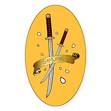 Sakura Samurai Oval Sticker (10 pk)