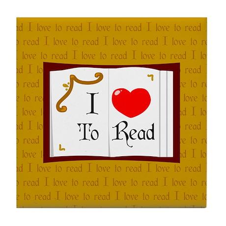 I Love To Read Tile Coaster