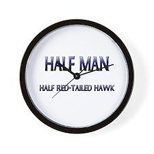 Half Man Half Red-Tailed Hawk Wall Clock