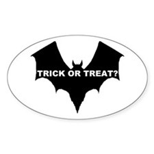 BLACK BAT - TRICK OR TREAT? Oval Decal