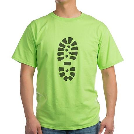 Hiking Boot Print Green T-Shirt