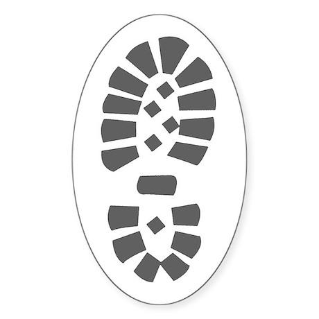 Hiking Boot Print Oval Sticker