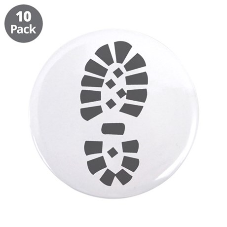 "Hiking Boot Print 3.5"" Button (10 pack)"