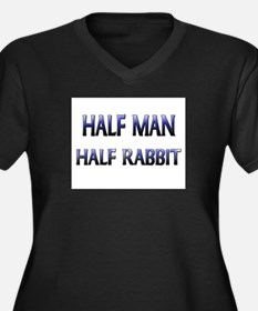 Half Man Half Rabbit Women's Plus Size V-Neck Dark