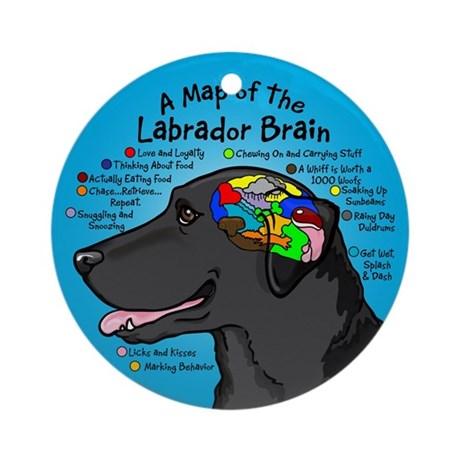 Black Lab Brain Ornament (Round)