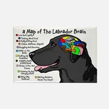 Black Lab Brain Rectangle Magnet