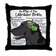 Black Lab Brain Throw Pillow
