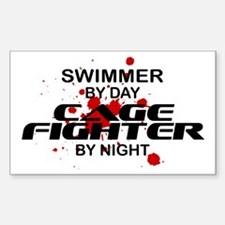 Swimmer Cage Fighter by Night Rectangle Decal