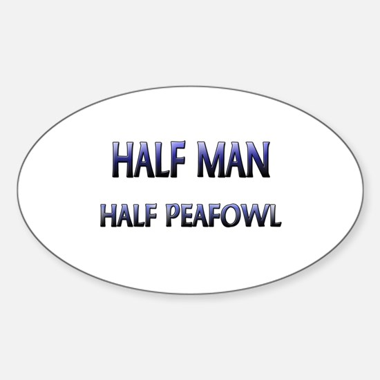 Half Man Half Peafowl Oval Decal