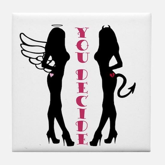 Angel or Devil Tile Coaster