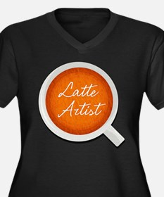 Latte Artist Barista Women's Plus Size V-Neck Dark