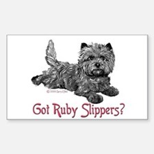 Cairn Terrier Ruby Slippers Rectangle Decal