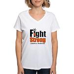 Fight Strong (Leukemia) Women's V-Neck T-Shirt