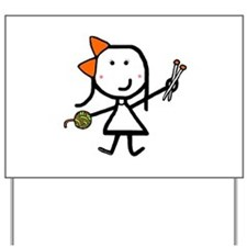 Girl & Knitting Yard Sign