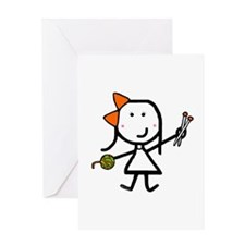 Girl & Knitting Greeting Card
