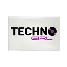 Techno Girl Rectangle Magnet