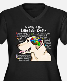 Yellow Lab Brain Women's Plus Size V-Neck Dark T-S
