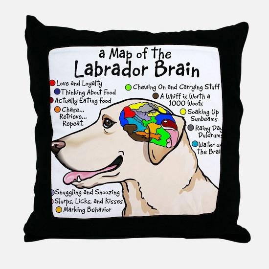 Yellow Lab Brain Throw Pillow