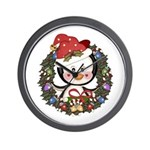 Christmas Penguin Holiday Wreath Wall Clock