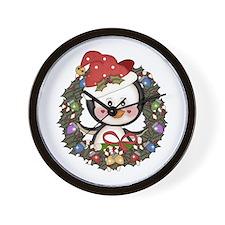 Christmas Penguin Holiday Wreath Wall Clock