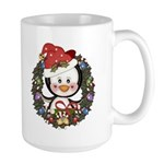 Christmas Penguin Holiday Wreath Large Mug