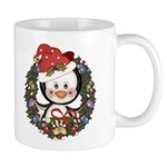 Christmas Penguin Holiday Wreath Mug
