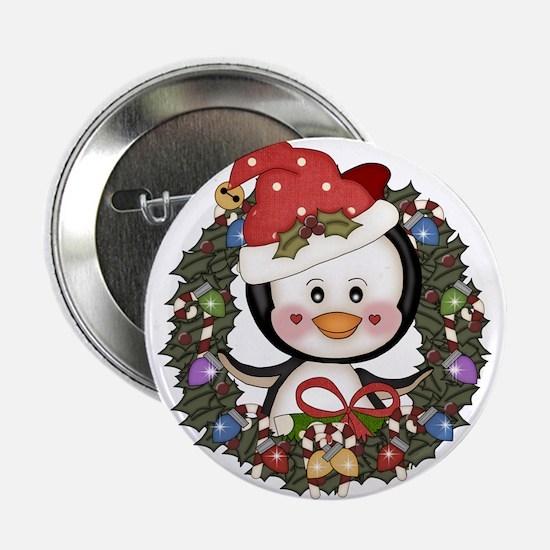 "Christmas Penguin Holiday Wreath 2.25"" Button"
