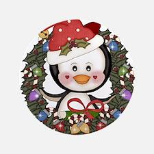 "Christmas Penguin Holiday Wreath 3.5"" Button"