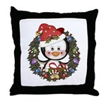 Christmas Penguin Holiday Wreath Throw Pillow