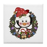 Christmas Penguin Holiday Wreath Tile Coaster