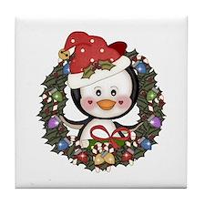 Christmas Penguin Holiday Wreath Tile Coaster