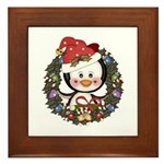 Christmas Penguin Holiday Wreath Framed Tile