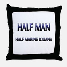 Half Man Half Marine Iguana Throw Pillow