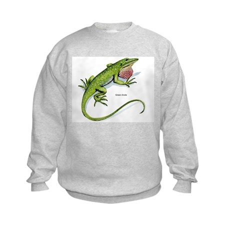 Green Anole Lizard Kids Sweatshirt