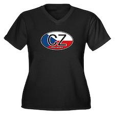Czech Republic Euro Oval Women's Plus Size V-Neck