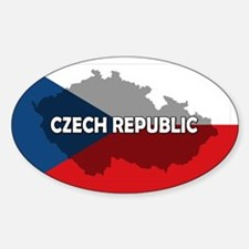 Czech Republic Flag Extra Sticker (Oval)
