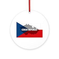 Czech Republic Flag Extra Ornament (Round)