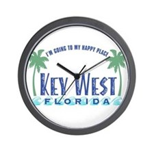 Key West Happy Place - Wall Clock