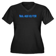 Real Men Ice Fish Women's Plus Size V-Neck Dark T-