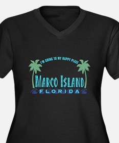 Marco Island Happy Place - Women's Plus Size V-Nec