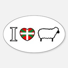 I <heart> Sheep Oval Decal