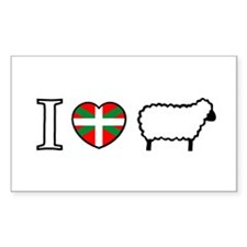 I <heart> Sheep Rectangle Decal