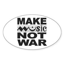 Make Music Not War Oval Decal