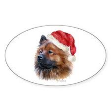 Christmas Eurasier Oval Decal
