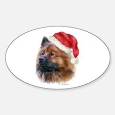Christmas Eurasier Oval Decal